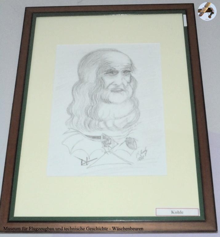 Museum für Flugzeugbau und technische Geschichte - Bleistiftzeichnung Leonardo da Vinci