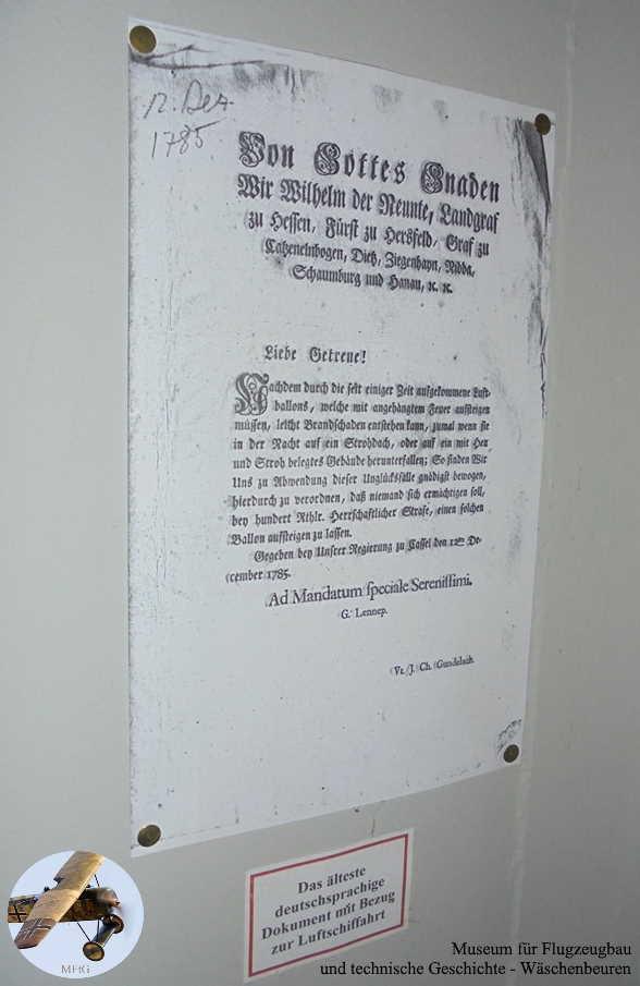 Museum für Flugzeugbau und technische Geschichte - Das älteste bekannte deutschsprachige Amtsdokument mit Bezug zur Luftfahrt.