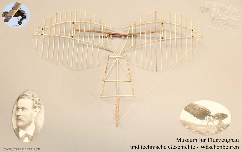Museum für Flugzeugbau und technische Geschichte - Sammlung von Modellen im Gedenken an Otto Lilienthal. Hier sein Deriwtz-Apparat von 1892