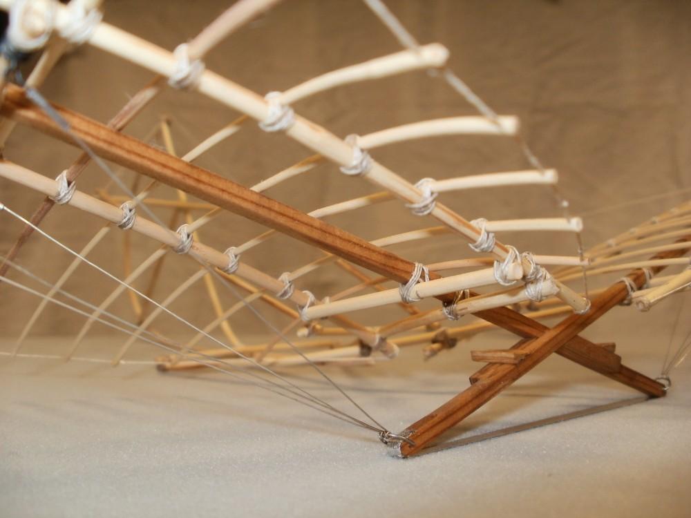 Otto Lilienthals Derwitz-Apparat von 1891. Die Tragkraft der Flügel wird mittels Stahldrähten in die unteren Enden des Gestellkreuzes eingeleitet. Eigenbau im Maßstab 1/15