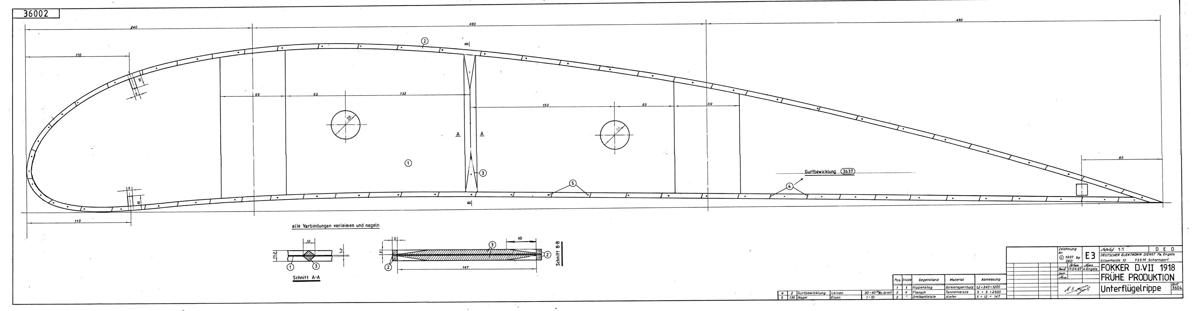 Engels E.3 (Nachbau der Fokker D.VII)- Rippenzeichnung
