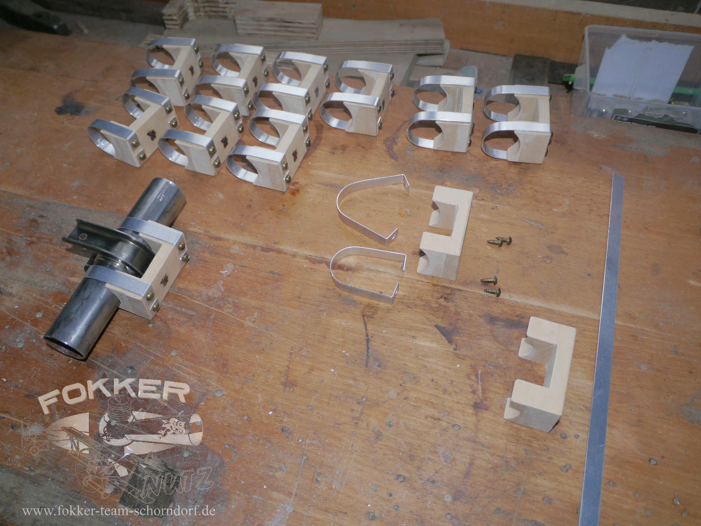 Engels E.1 (Fokker Dr.1) - Aileron strap blocks in the making