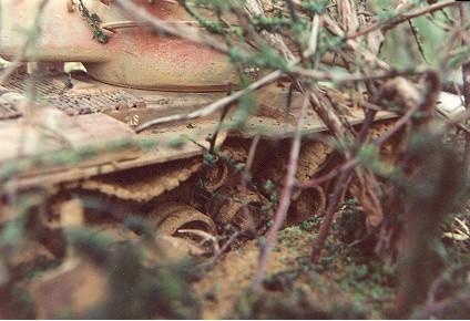 Ein aufgegebener M-47 `Patton` nach Jahren irgendwo im Dschungel. Das Fahrzeug verottet langsam. 1:35 Modell von Wolfgang Schuster.